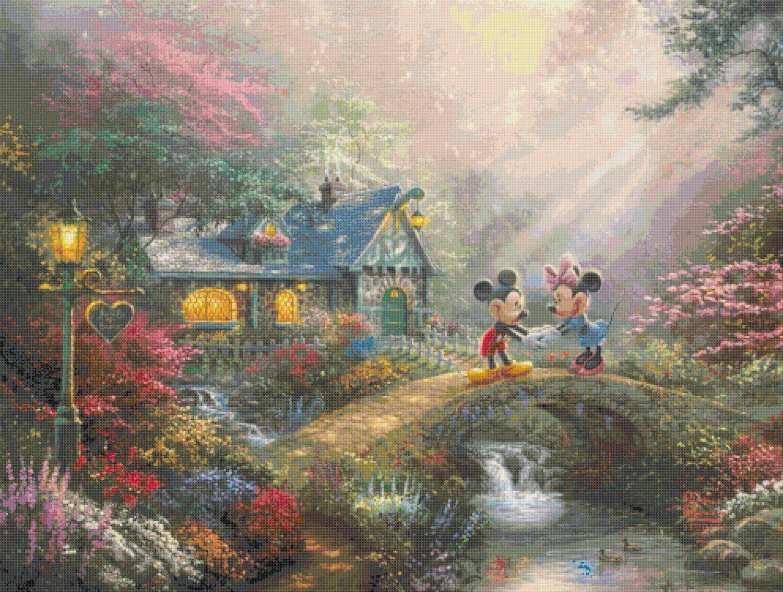 mickey minnie sweetheart Bridge cross stitch pattern Kinkade Cross stitch 496  * 375 stitches E1682