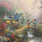 "mickey minnie sweetheart Bridge cross stitch pattern Kinkade Cross stitch 35.43"" x 26.79"" - C1682"