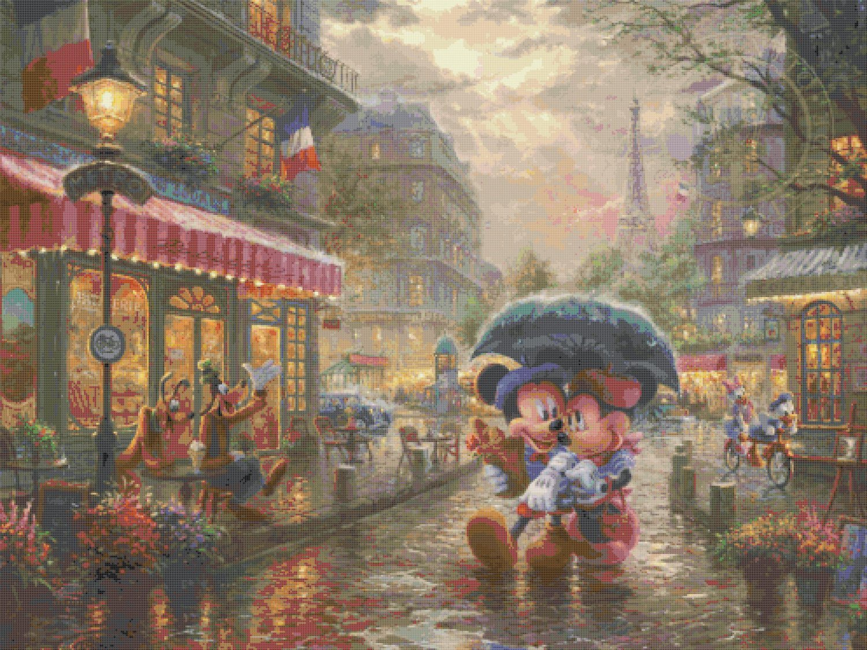 "Counted Cross Stitch Mickey Minnie Paris pattern Kinkade 35.43"" x 26.57"" - E1774"