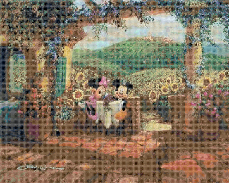 "Cross Stitch mickey minnie sweetheart cove Kinkade - 35.43"" x 28.36"" - C1852"