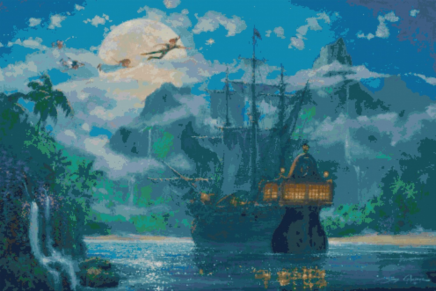 "Counted Cross Stitch - peter pan - Kinkade - 35.43"" x 23.64"" - E1864"