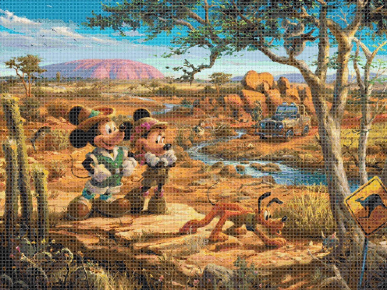 "Counted Cross Stitch minnie mickey Outback Kinkade - 35.43"" x 26.57"" - E1929"