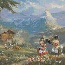 "Counted Cross Stitch minnie mickey in the alps Kinkade - 35.43"" x 26.93"" - C1910"
