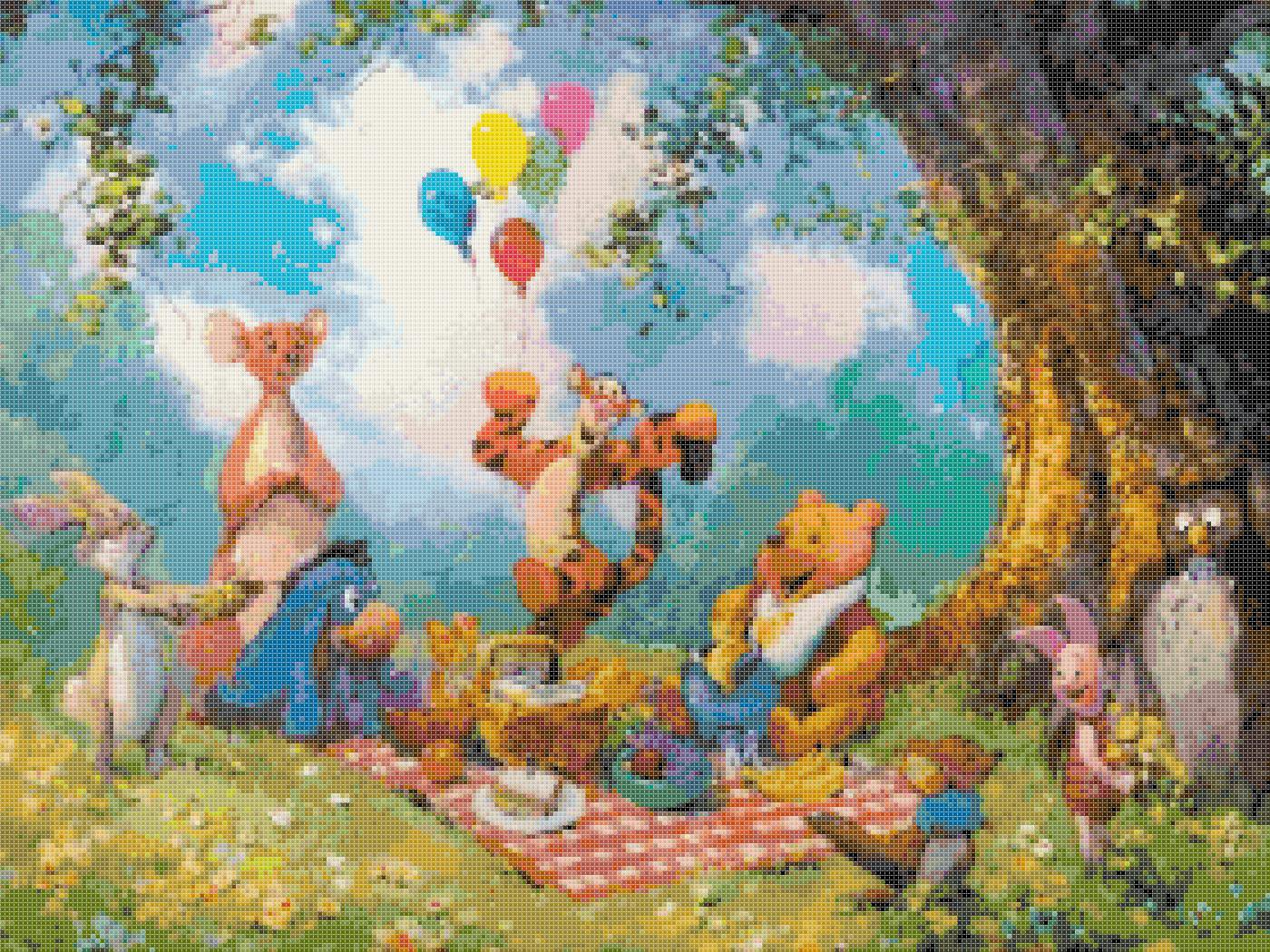 """Counted Cross Stitch winnie the pooh party watercolor - 20.00"""" x 15.00"""" - E1923"""