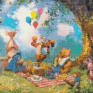 "Counted Cross Stitch winnie the pooh party watercolor - 20.00"" x 15.00"" - E1923"