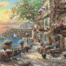 "Counted Cross Stitch french riviera cafe Kinkade - 35.43"" x 25.50"" - E1983"