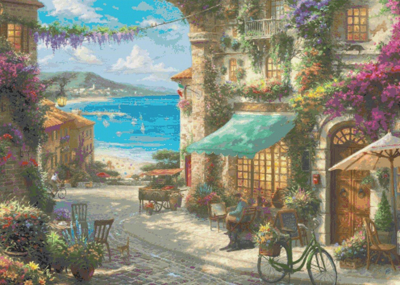 """Italian cafe Counted Cross Stitch pattern Kinkade - 35.43"""" x 25.29"""" - E1986"""