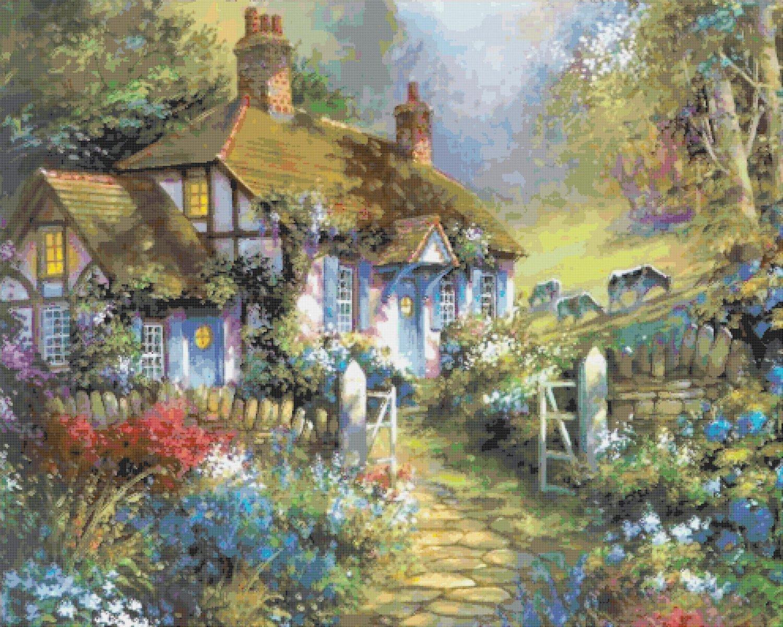 """cottage Counted Cross Stitch pattern Kinkade - 35.43"""" x 28.36"""" - E2006"""
