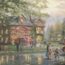 "hometown firehouse counted cross stitch pattern kinkade  35.43"" x 23.64"" E2018"
