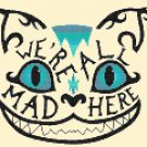 "We re All Mad Here Alice In Wonderland Cheshire Cat - 9.64"" x 8.21"" - Cross Stitch Pattern Pdf E1660"