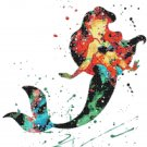 "princess ariel watercolor counted cross stitch pattern Cross 13.79"" x 15.86"" - E1669"