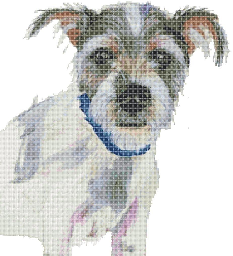 "watercolor pet dog Counted Cross Stitch pattern - 13.07"" x 14.43"" - E1971"