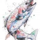 "watercolor salmon Counted Cross Stitch pattern - 10.57"" x 14.43"" - E1746"