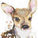 """watercolor fawn Counted Cross Stitch pattern - 15.14"""" x 18.86"""" - E1742"""