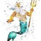 "king triton watercolor counted cross stitch pattern Cross 12.14"" x 14.71"" - E1903"