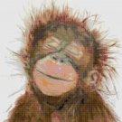 """watercolor monkey Counted Cross Stitch pattern - 13.71"""" x 15.36"""" - E2191"""