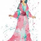 princess mulan watercolor counted cross stitch pattern 90*144 stitches E1873