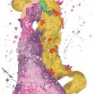 counted cross stitch pattern princess rapunzel watercolor 121*203 stitches E1872