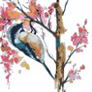 "watercolor robbery bird Counted Cross Stitch pattern - 10.64"" x 13.29"" - E1484"