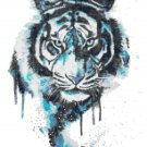 "watercolor tiger Counted Cross Stitch pattern - 10.07"" x 13.07"" - E1515"