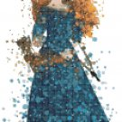"brave watercolor counted cross stitch pattern merida 8.00"" x 14.50"" - E1874"