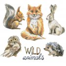 "watercolor wild animals Counted Cross Stitch pattern - 19.71"" x 19.71"" - E1506"