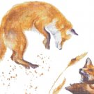 "watercolor fox Counted Cross Stitch pattern - 21.50"" x 13.64"" - E1987"