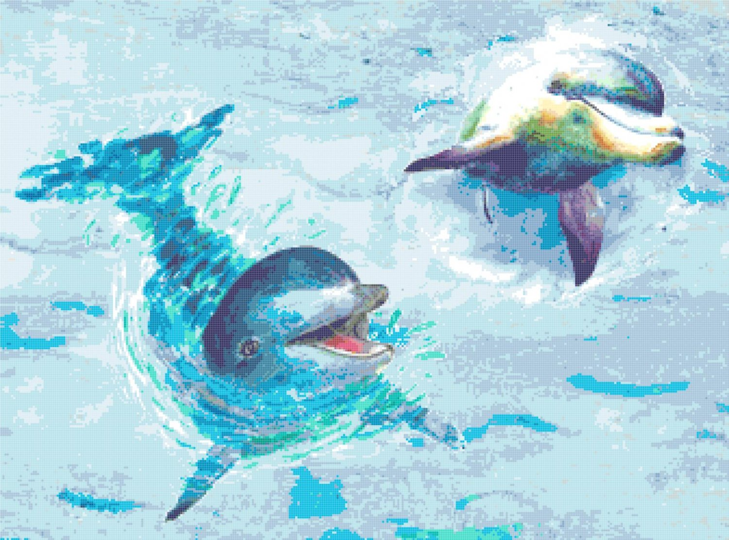 """watercolor dolphins Counted Cross Stitch pattern - 24.00"""" x 17.79"""" - E2130"""