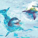 "watercolor dolphins Counted Cross Stitch pattern - 24.00"" x 17.79"" - E2130"