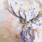 "watercolor deer Counted Cross Stitch pattern - 13.79"" x 11.79"" - E1110"