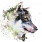 "watercolor wolf Counted Cross Stitch pattern - 13.79"" x 13.79"" - E1753"