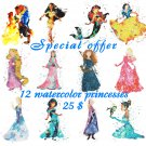 12 watercolor princesses disney counted cross stitch pattern Cross E1871