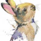 "watercolor rabbit Counted Cross Stitch pattern - 9.86"" x 12.29"" - E1501"