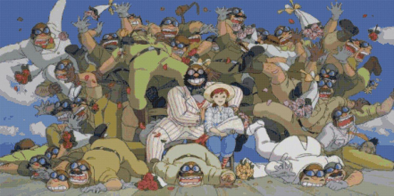 counted Cross stitch pattern Porco rosso Miyazaki 386 * 289 stitches E572