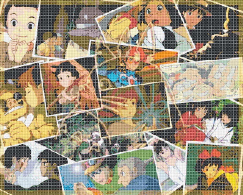 Counted Cross stitch pattern All ghibli films by Miyazaki 331*265 stitches E499