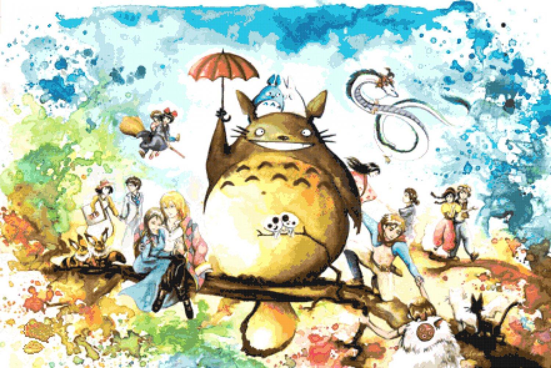 counted Cross Stitch Pattern totoro watercolor miyazaki  441 * 295 stitches E2306