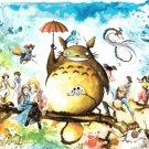"""counted Cross Stitch Pattern totoro watercolor miyazaki  31.50"""" x 21.07"""" - E2306"""