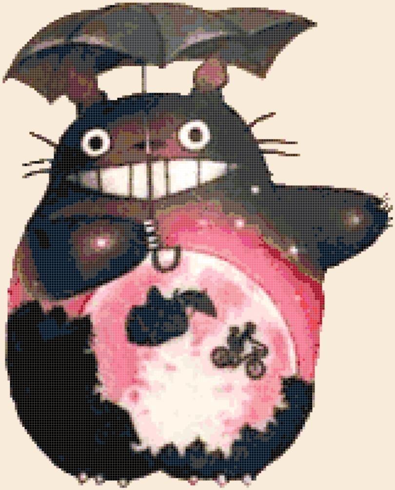 counted Cross Stitch Pattern totoro watercolor miyazaki 157 * 142 stitches E2311