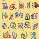 Counted Cross stitch pattern Alphabet Disney characters 425x607 stitches E1266
