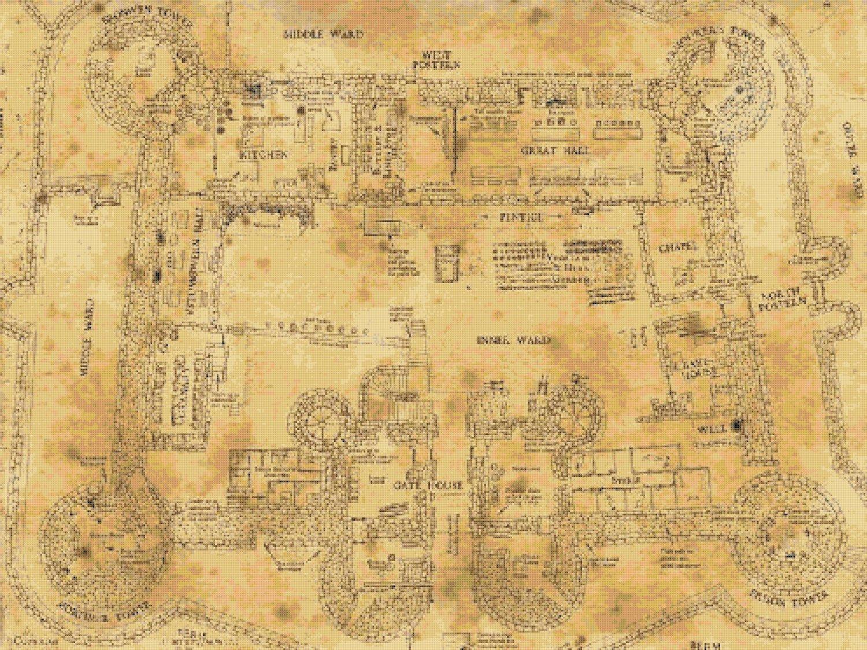 Counted Cross Stitch Pattern hogwart school floor map 496 x 372 stitches E1784