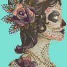 counted cross stitch pattern dead girl sugar skull 138*248 stitches E915