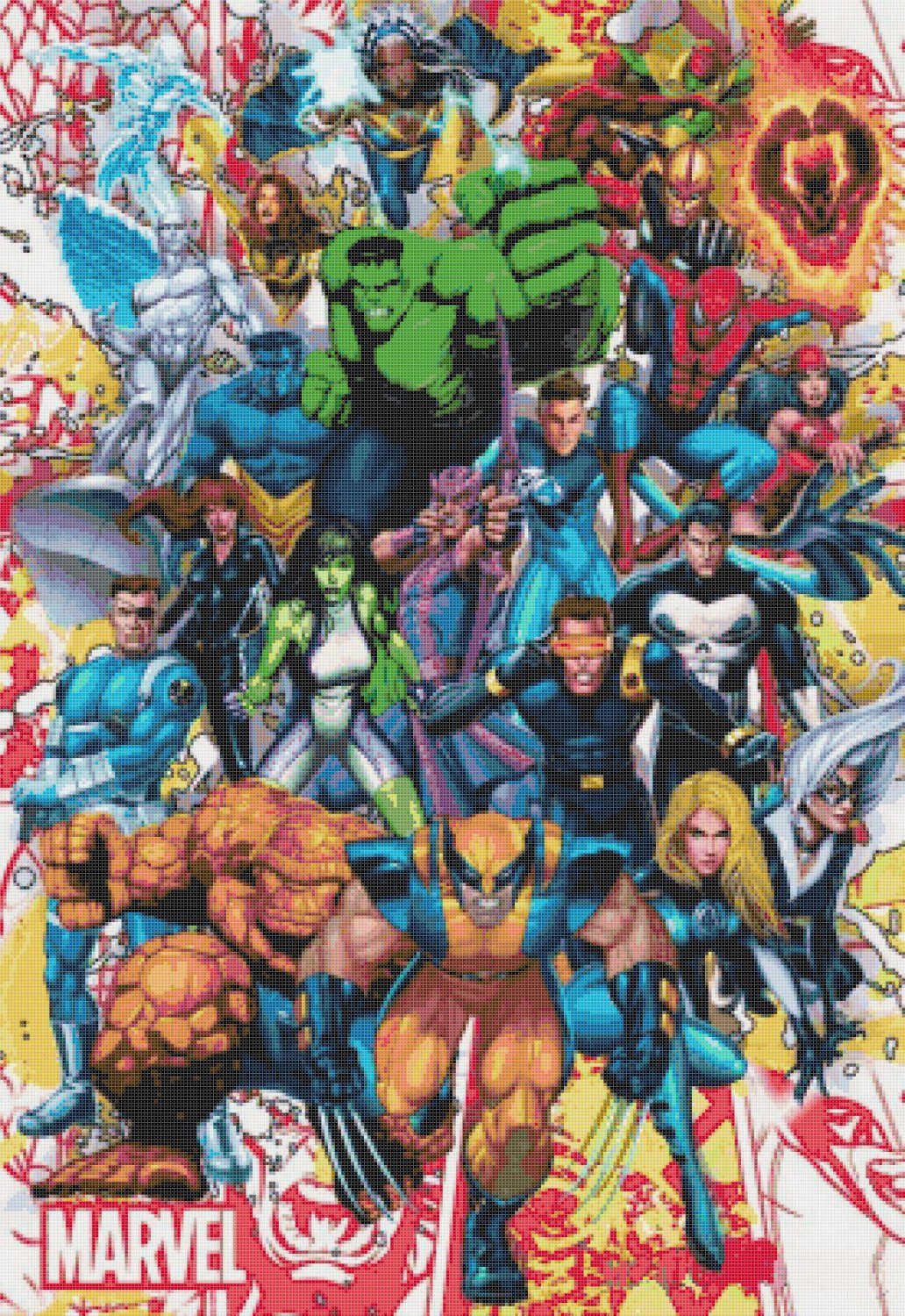 counted cross stitch pattern Marvel superheroes 276 x 401 stitches E796