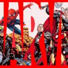 counted cross stitch pattern Marvel logo with characters 248*142 stitches E546