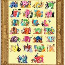 Counted cross stitch pattern alphabet disney characters 547 * 753 stitches E2025