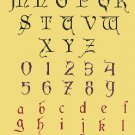Counted cross stitch pattern old gothic alphabet size 222 x 435 stitches E2004