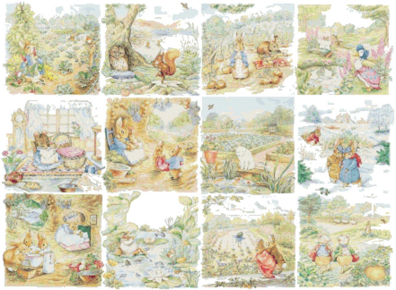 Counted cross Stitch Pattern twelve beatrix potter scenes 438*321 stitches E1544