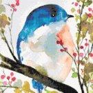 counted Cross Stitch Pattern Watercolor bird pdf chart 220x165 stitches E2192