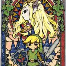 counted cross stitch pattern nintendo zelda stained glass 220*329 stitches E1056