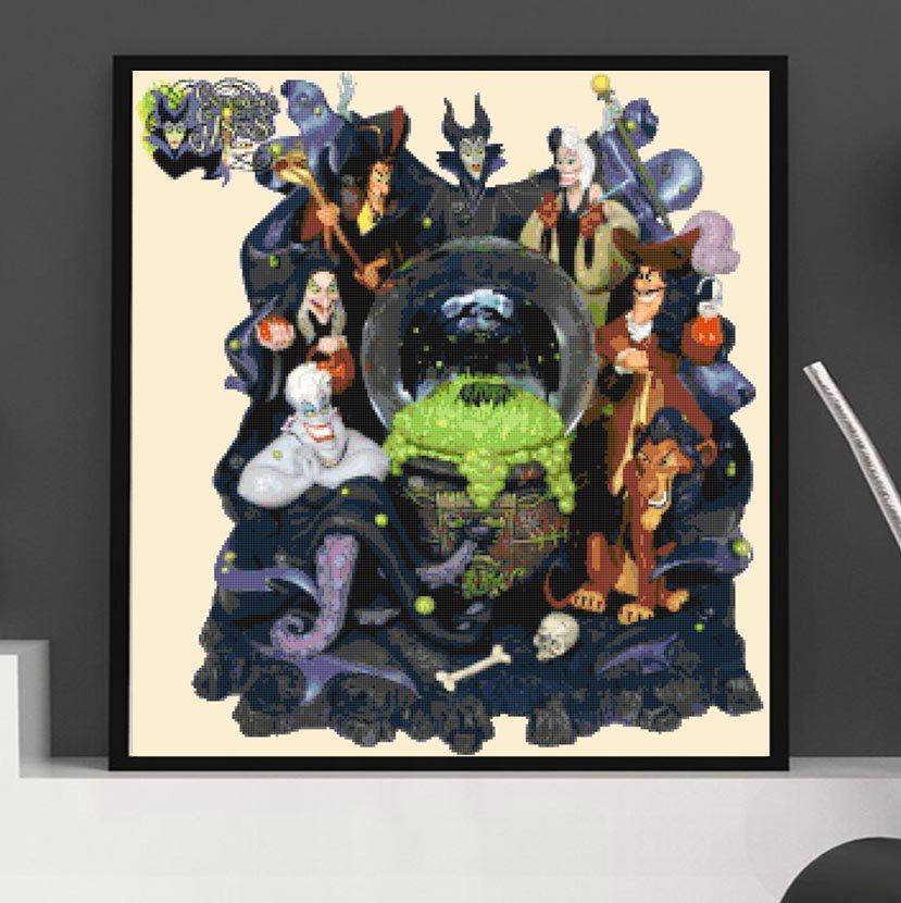 counted cross stitch pattern Disney villains glitter globe 246x267 stitches E2181