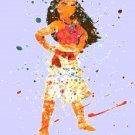 counted cross stitch pattern watercolor princess moana 172*213 stitches E2330